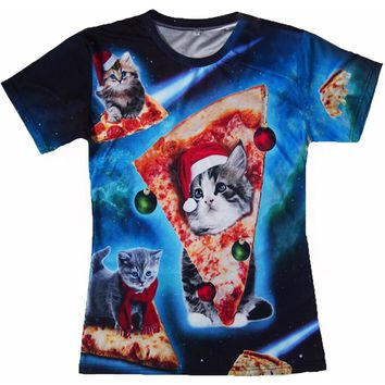 Pizza Cat Christmas Hat All Over Print 3D T-shirt