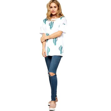 Short Sleeve Cactus Top with Cutout Detail, White