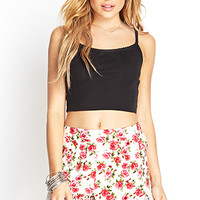 FOREVER 21 Lacy Floral Tap Shorts Cream/Red