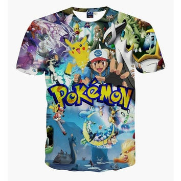 CLASSIC ANIME POKEMON 3D PRINTED T SHIRTS 2016 NEW SUMMER FASHION SHORT SLEEVE CASUAL COTTON WOMEN MEN TEE SHIRTS TOPS S-XXL [8833405644]