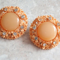 Orange Sherbet Earrings Celluloid Round Rhinestone Moonglow Clip On Vintage 030515SC