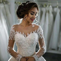 Wedding Dress Long Sleeve Lace Wedding Dress Ball Gown Wedding Dresses 2016 Robe De Mariage Wedding Gowns Vestidos De Novia