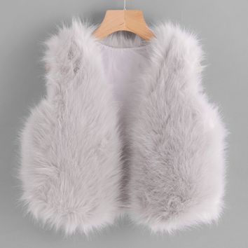 Faux Fur Crop Vest