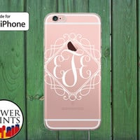 Fancy Monogram Cursive Filligree Cute Custom Gift Clear Rubber Phone Case for iPhone 5/5s and 5c and iPhone 6 and 6 Plus + and iPhone 6s