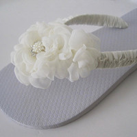 Bridal Flip Flops Simply Elegant French Knotted Added Shear Chiffon Handmade Flowers with Pearl and Rhinestone Accent Custom Order Bridal