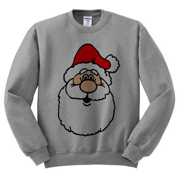 Grey Crewneck Jolly Santa Face Ugly Christmas Sweatshirt Sweater Jumper Pullover
