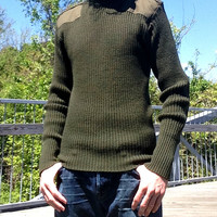 Authentic Military Issue Service Sweater - Defense Logistics Agency - 100% Wool - Army Green - Mens Size 42 (L)