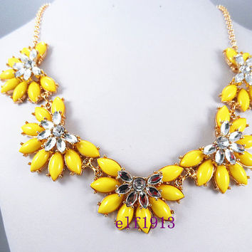 J. Crew Style Inspired Flower Bubble  Necklace ,Statement Necklace,bridesmaid gifts, bib necklace,3  color available / yellow