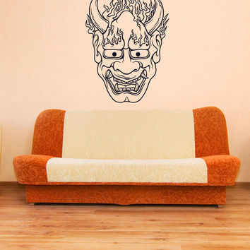 Vinyl Wall Decal Sticker Oni Demon Mask #1452