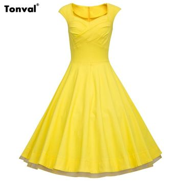 26037e694b0 Tonval 2017 Women Yellow Rockabilly 3XL Dress Plus Size Floral V