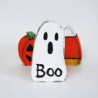 Handmade Wood Halloween Ghost Home Accent Decoration