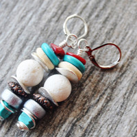 Boho Earrings,Boho Jewelry, Boho Turquoise Earring, Hippie Earrings ,Gypsy Earrings, Coral Earrings, Beach Jewelry, White Earrings,