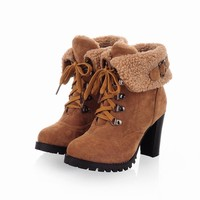 Ankle High Pointed Toe Faux Fur Suede Lace-Up Thick Square High Heels Women's Winter Boots