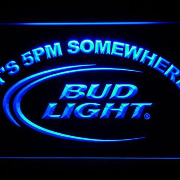 Bud Light It's 5 pm Somewhere Bar LED Neon Sign with On/Off Switch 7 Colors 4 Sizes