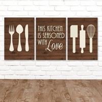 KITCHEN Wall Art Canvas or Prints Utensil Wall Decor, Kitchen Quote Decor, Wood Seasoned with Love, Set of 3 Housewarming Gift, Home Decor