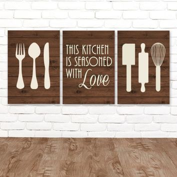 KITCHEN Wall Art, CANVAS or Prints, Utensil Wall Decor, Kitchen Quote Decor, Wood Seasoned with Love, Set of 3 Housewarming Gift, Home Decor