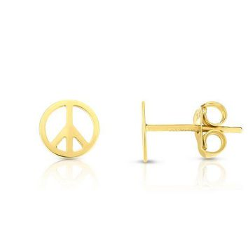 14K Yellow Gold Delicate Peace Sign Stud Earring
