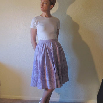Mid Century Full Circle Skirt. Purple Gingham. Cross Stitch Embroidered Flowers. Size S.