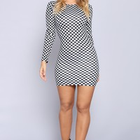 Speed Demon Checkered Dress - Black/White