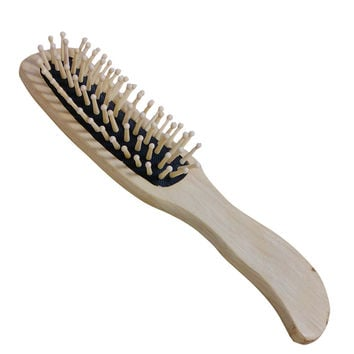 Natural Bamboo Paddle Cushion Massage Hair Brush Ball-Tipped Wooden Comb