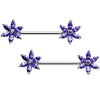 "14 Gauge 5/8"" Purple CZ Pimpernel Flower Ends Nipple Barbell Set"