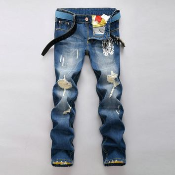 Ripped Holes Korean Strong Character Print Men Slim Pants Jeans [6528346435]