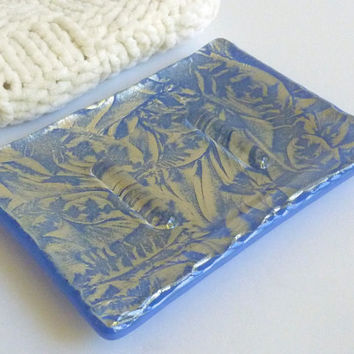 Cobalt and Silver Glass Soap Dish