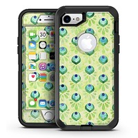 Green Watercolor Peacock Feathers - iPhone 7 or 7 Plus OtterBox Defender Case Skin Decal Kit