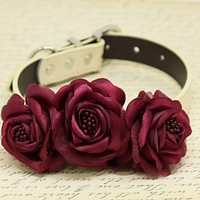 Burgundy Floral Dog Collar, Wedding Pet Accessory, Rose Flowers with Pearls