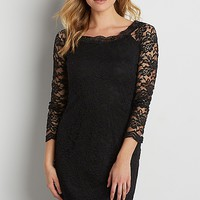 floral lace dress with scalloped hems in black | maurices