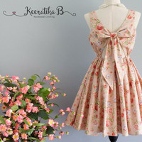 A Party V - Lolita Dress Sweet Lolita Backless Dress Bow Back Pale Pink Floral Dress Party Wedding Bridesmaid Dress Summer Sundress XS-XL