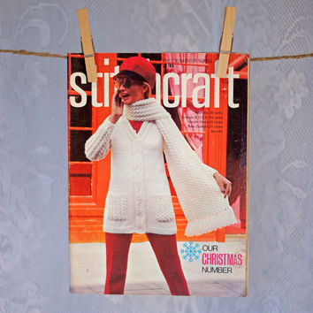 Stitchcraft Magazine 1960s Vintage Pattern Book for Knitting, Crochet, Felting, Embroidery, Rugmaking & Crafts December 1969 Christmas Issue
