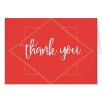 Modern Cactus, Floral and Geometric Thank you Card