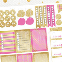 50 Pink and Gold Glitter Weekly Planner Stickers / Monthly Planner Stickers / Fits Erin Condren Planner