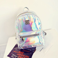 2017 Mochila Escolar Hologram Women Leather Backpack Casual PU Travel Rucksack Fashion School Backpacks For Teenager