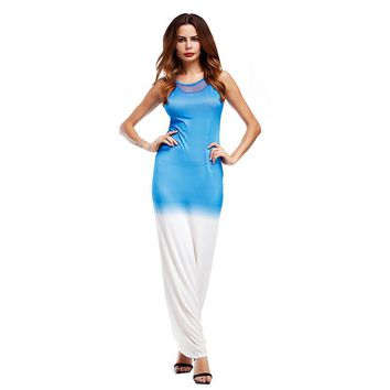 2017 New Women Sexy Bodycon Party Maxi Long Dress Casual O Neck Sleeveless Hit Color Dresses Sheath Vestidos Kaftan Robes