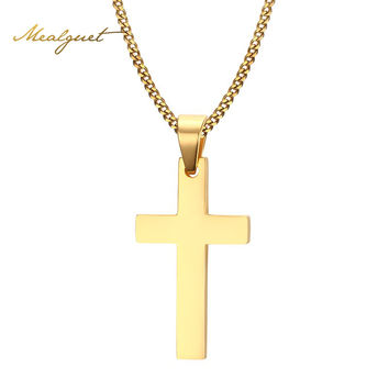 Meaeguet Cross Necklaces&Pendants For Men Stainless Steel Gold-Color Male Pendant Necklaces Prayer Jewelry