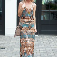 Printed Drop Waist Dress Veronica M Tank Maxi Dress- Tahara - $92.00 | Hand In Pocket Boutique