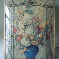 Silhouette PIcture ~ Still Life Flowers  ~ Convex Bubble Glass Frame ~ Art Deco Style