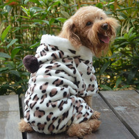 Soft Pet Dog Jumpsuit Puppy Cat Clothes Fleece Leopard Print Costume Coat Jumpsuit Hoodies