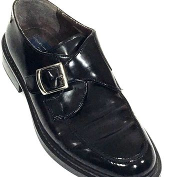 Giorgio Brutini Monk Buckle Strap Slip On Loafers Black Italy Shoes Mens 10 - Preowned