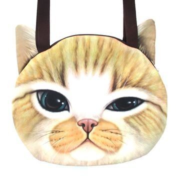 Large Ginger Kitty Cat Face Shaped Digital Print Shopper Tote Shoulder Bag | Gifts for Cat Lovers