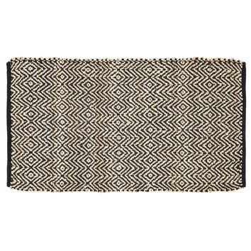 Zuma Black - Jute & Cotton - Handwoven -  27 x 48 - Rug