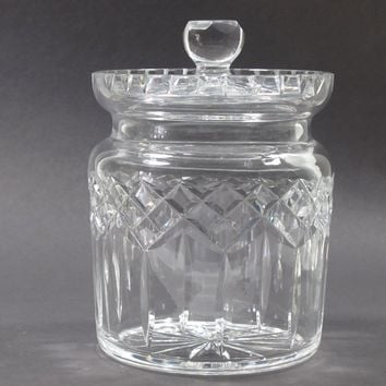 Signed Waterford crystal Lismore cookie jar auction
