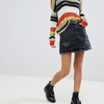 River Island Distressed Dark Wash Denim Mini Skirt at asos.com