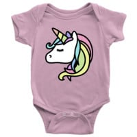 Living You Co. Pink Unicorn Onesuit For Girls | Unicorn Onesuit, Unicorn Baby Bodysuit, Unicorn Baby One Piece Suit | Keep Your Baby Warm and Comfy | Newborn, 6M, 12M, 18M, 24M