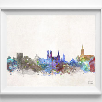 Munich Skyline, Germany Watercolor, Poster, German Print, Bavaria, Bedroom, Cityscape, City Painting, Living, Illustration, Europe [NO 437]