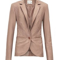 Aylish Cognac Weave Leather Jacket - REISS
