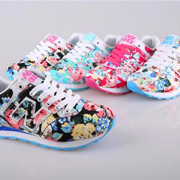 """""""New Balance"""" Fashion Casual Multicolor Floral Print Breathable N Words Sneakers Women Running Shoes"""