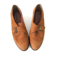 Brown Suede Leather Loafers Deck Shoes Rockport Moccasins Buckle Preppy Women's slip on shoes size 8 Wide